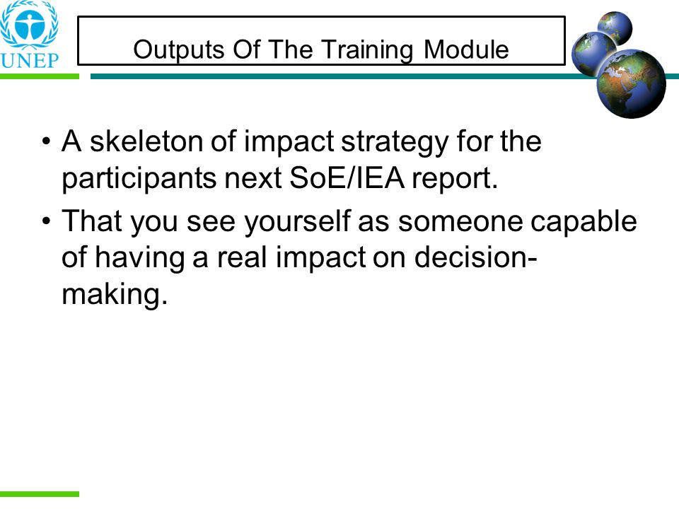 Outputs Of The Training Module A skeleton of impact strategy for the participants next SoE/IEA report.