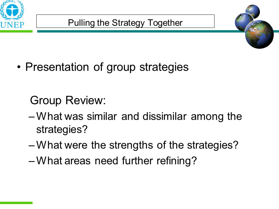 Pulling the Strategy Together Presentation of group strategies Group Review: –What was similar and dissimilar among the strategies.