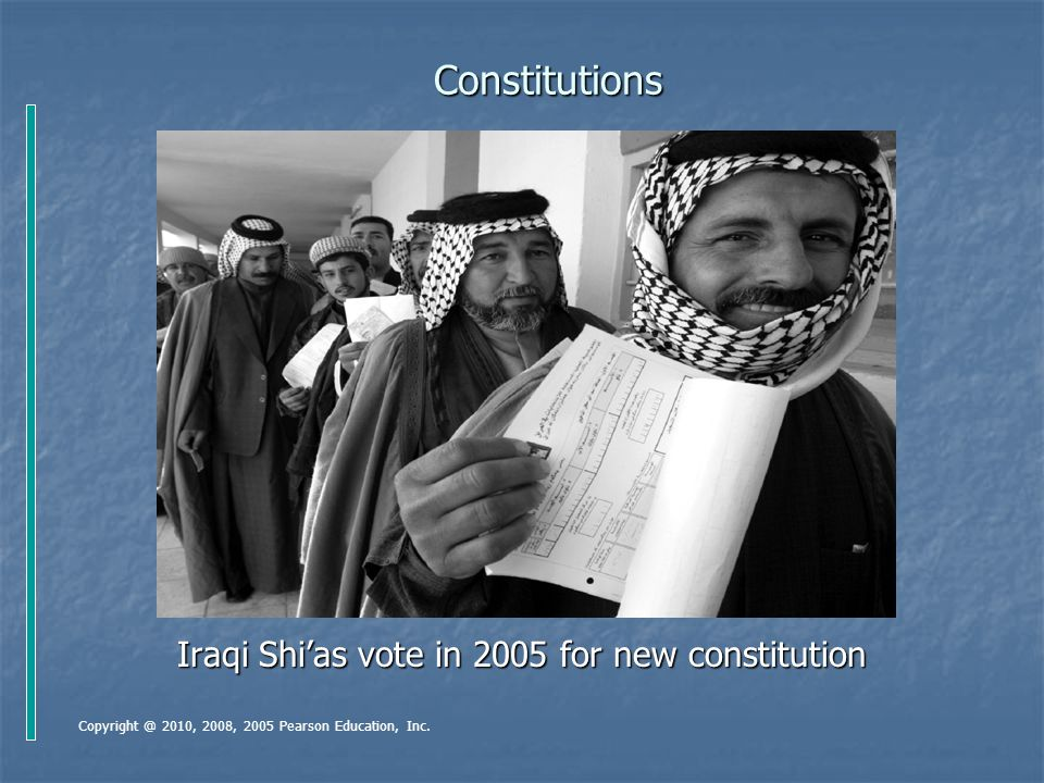 Constitutions in the Modern World Constitution – rules and customs by which a government conducts its affairs Constitution – rules and customs by which a government conducts its affairs Some constitutions are unwritten, made up of traditions, customs, statutes, and precedents, like Britain's Some constitutions are unwritten, made up of traditions, customs, statutes, and precedents, like Britain's Many constitutions also specify individual rights and freedoms Many constitutions also specify individual rights and freedoms Constitutions supposed to set forth government forms and limits, and balance minority and majority interests Constitutions supposed to set forth government forms and limits, and balance minority and majority interests US constitution unusual in brevity and lack of detail US constitution unusual in brevity and lack of detail Some constitutions have many requirements that can't be achieved, especially in poorer countries, such as universal education Some constitutions have many requirements that can't be achieved, especially in poorer countries, such as universal education Some look good on paper, but used to provide cover for brutal regimes like Stalin's, which flouted Soviet constitution Some look good on paper, but used to provide cover for brutal regimes like Stalin's, which flouted Soviet constitution Copyright @ 2010, 2008, 2005 Pearson Education, Inc.