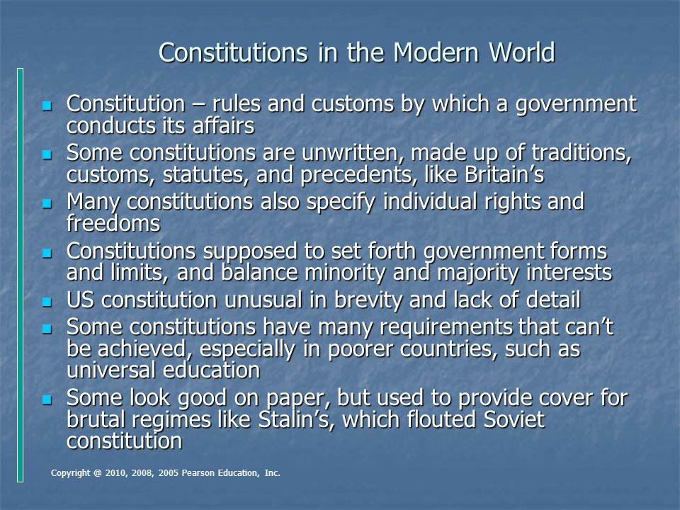Constitutions in the Modern World Constitution – rules and customs by which a government conducts its affairs Constitution – rules and customs by whic