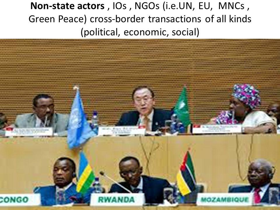 Non-state actors, IOs, NGOs (i.e.UN, EU, MNCs, Green Peace) cross-border transactions of all kinds (political, economic, social)