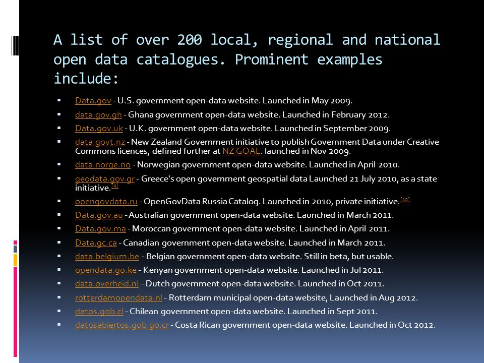 A list of over 200 local, regional and national open data catalogues.