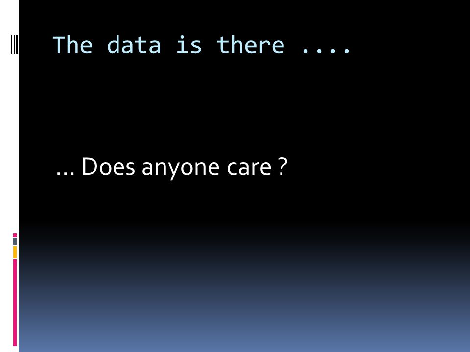 The data is there....... Does anyone care ?