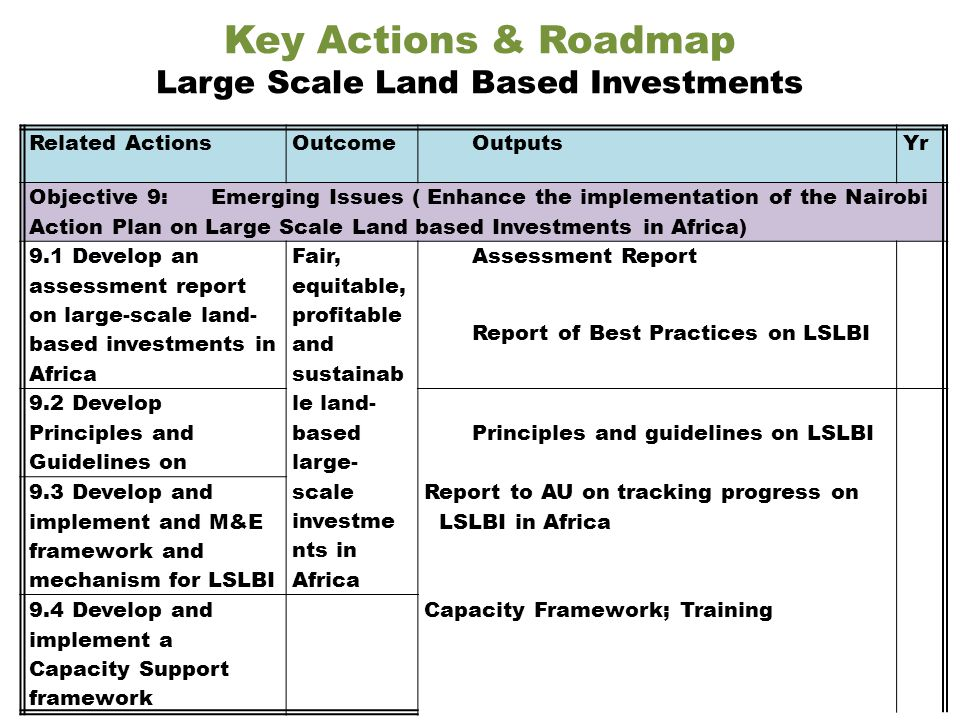Related ActionsOutcomeOutputsYr Objective 9: Emerging Issues ( Enhance the implementation of the Nairobi Action Plan on Large Scale Land based Investments in Africa) 9.1 Develop an assessment report on large-scale land- based investments in Africa Fair, equitable, profitable and sustainab le land- based large- scale investme nts in Africa Assessment Report Report of Best Practices on LSLBI 9.2 Develop Principles and Guidelines on Principles and guidelines on LSLBI 9.3 Develop and implement and M&E framework and mechanism for LSLBI Report to AU on tracking progress on LSLBI in Africa 9.4 Develop and implement a Capacity Support framework Capacity Framework; Training Key Actions & Roadmap Large Scale Land Based Investments