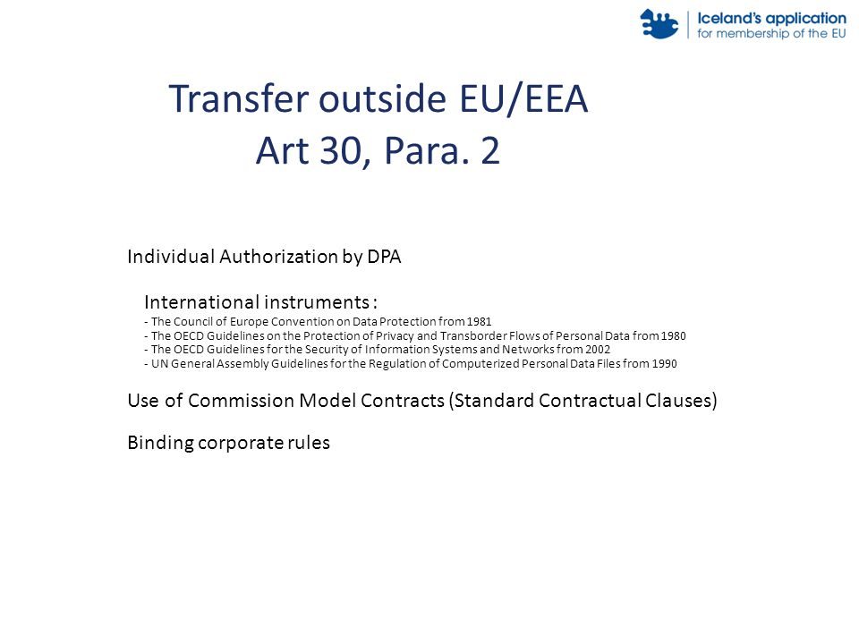 Transfer outside EU/EEA Art 30, Para.