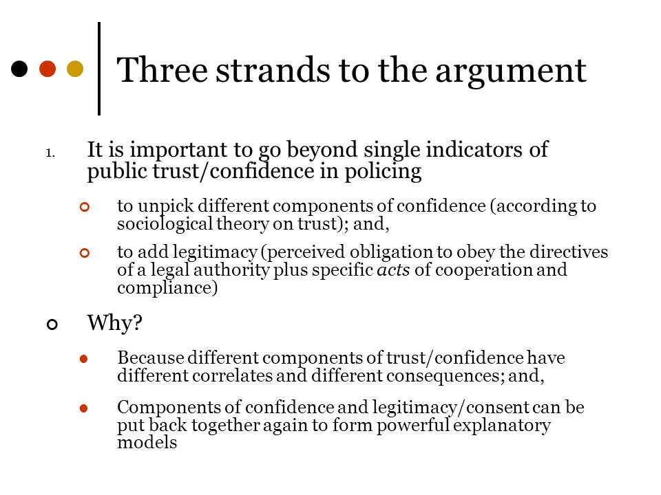 Three strands to the argument 1.