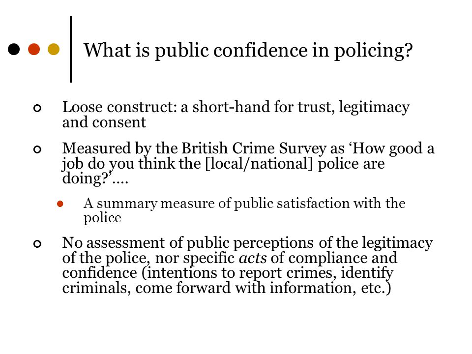 What is public confidence in policing.