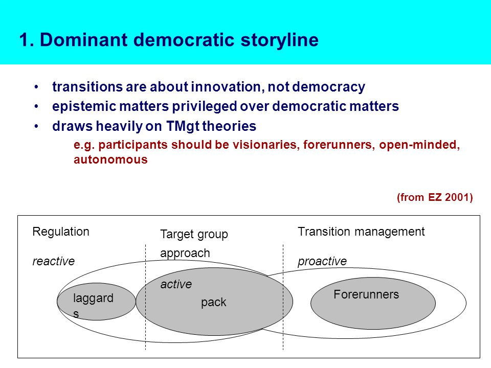1. Dominant democratic storyline transitions are about innovation, not democracy epistemic matters privileged over democratic matters draws heavily on