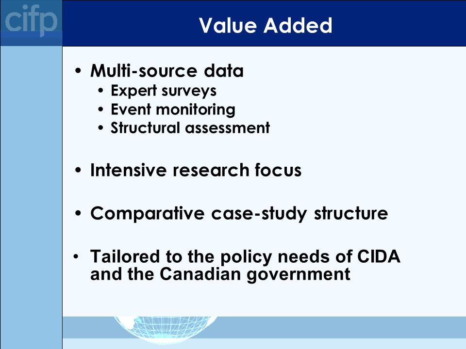 Value Added Multi-source data Expert surveys Event monitoring Structural assessment Intensive research focus Comparative case-study structure Tailored to the policy needs of CIDA and the Canadian government