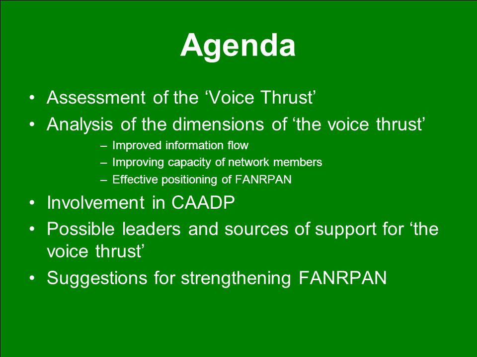 Agenda Assessment of the 'Voice Thrust' Analysis of the dimensions of 'the voice thrust' –Improved information flow –Improving capacity of network mem