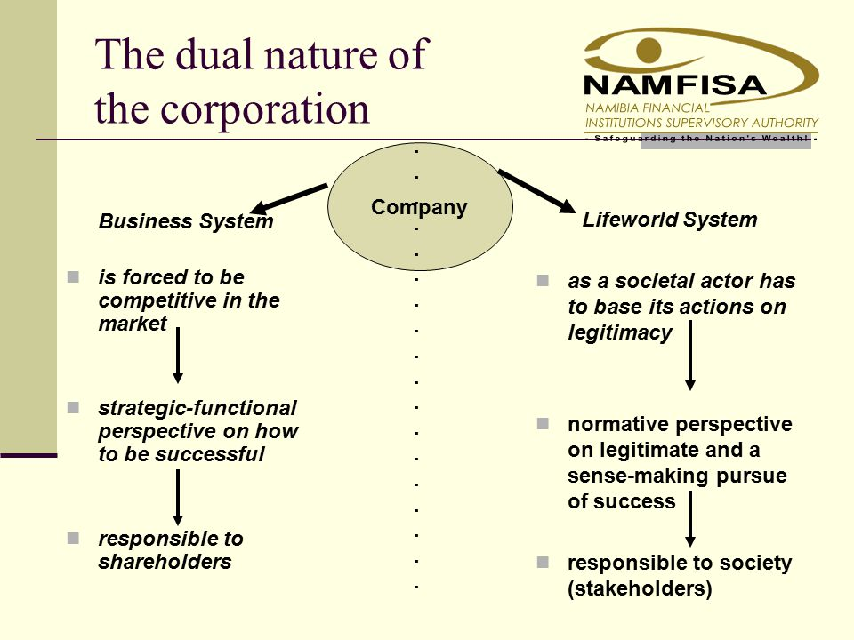 The dual nature of the corporation Business System is forced to be competitive in the market strategic-functional perspective on how to be successful responsible to shareholders Lifeworld System as a societal actor has to base its actions on legitimacy normative perspective on legitimate and a sense-making pursue of success responsible to society (stakeholders) Company....................................