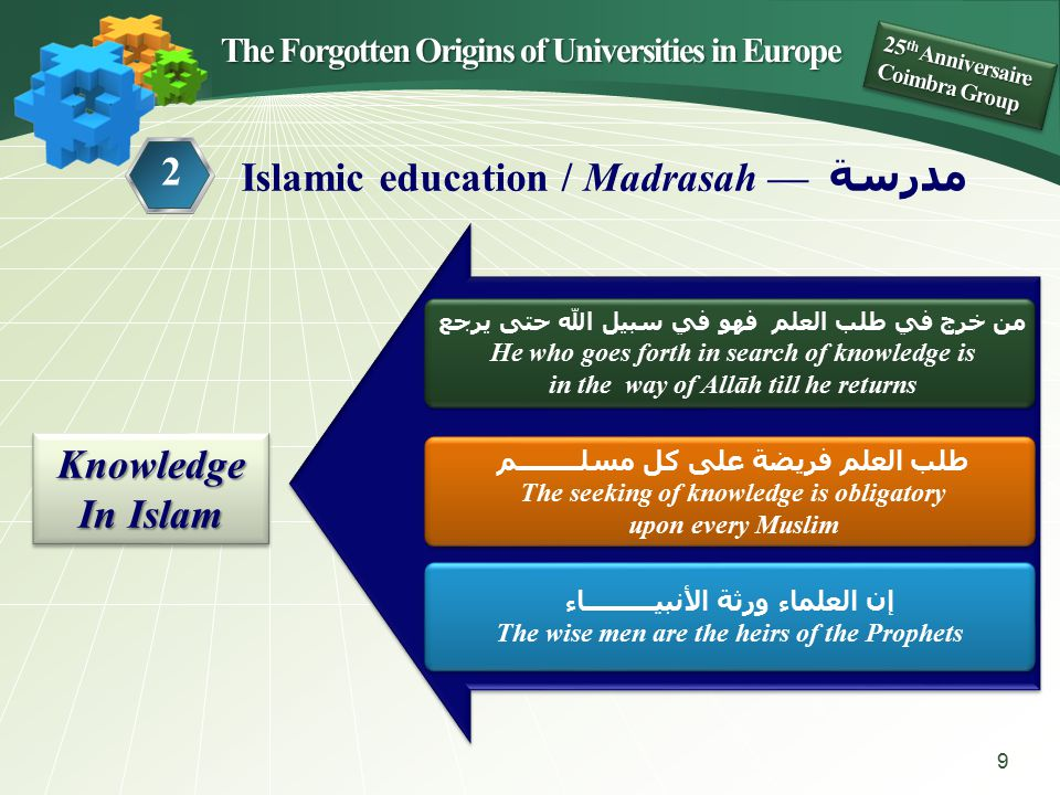 Knowledgeالعلم الله — G od prescribes Science of Religion Wise men ʿ Ulamā ʾ Koran, Ḥ adīt… The šarī ʿ a — الشريعة 10 The Forgotten Origins of Universities in Europe 25 th Anniversaire Coimbra Group