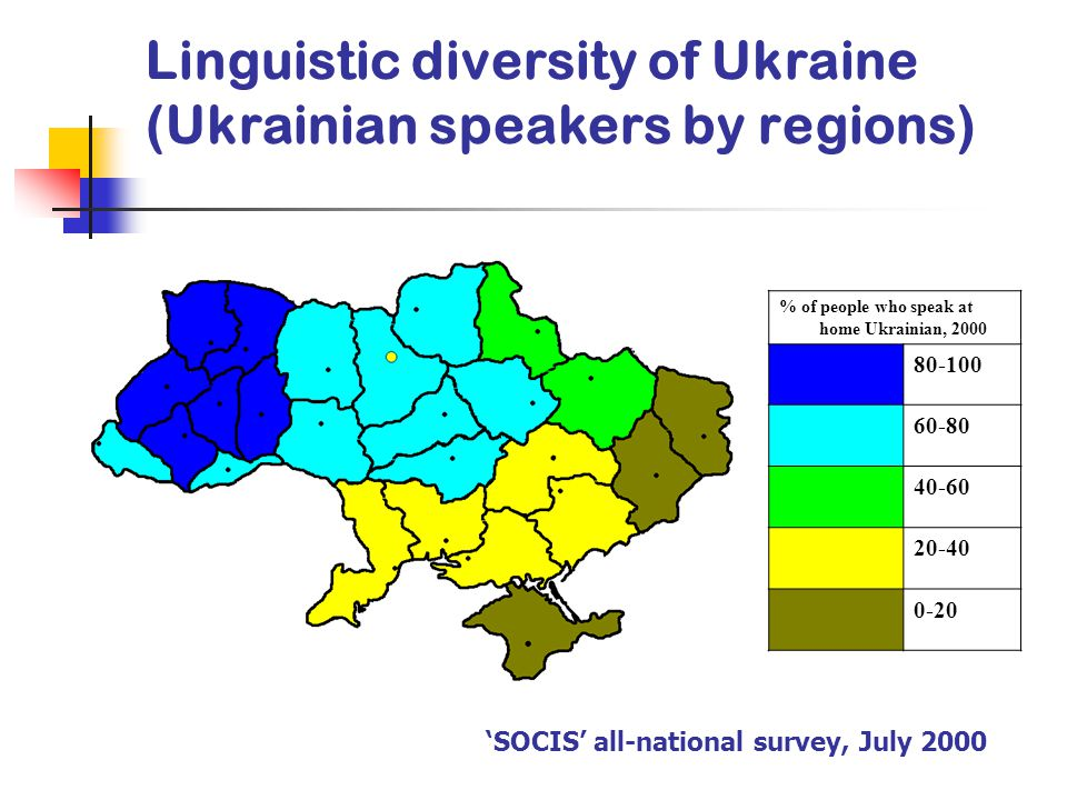 Linguistic diversity of Ukraine (Ukrainian speakers by regions) % of people who speak at home Ukrainian, 2000 80-100 60-80 40-60 20-40 0-20 'SOCIS' all-national survey, July 2000