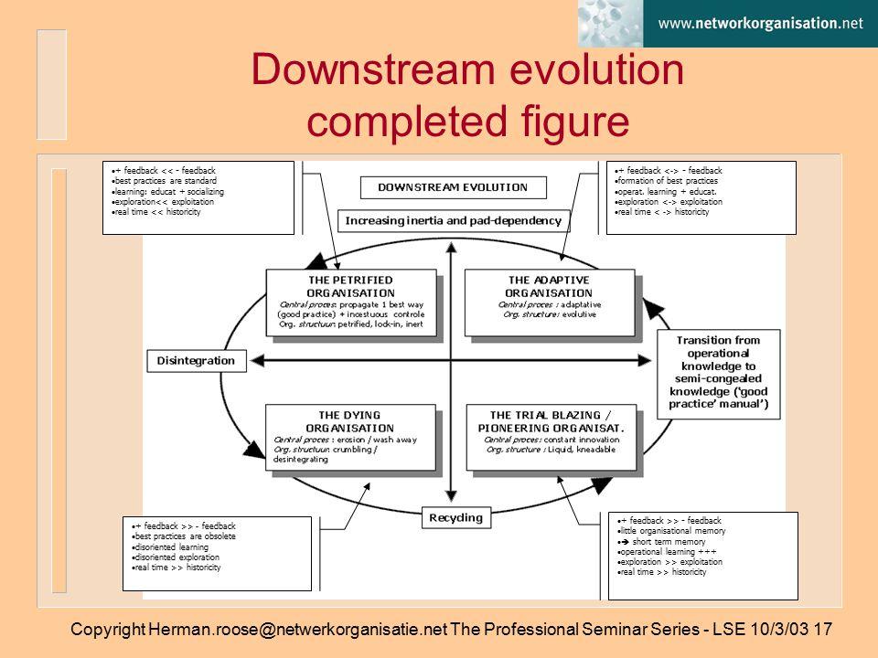 Copyright Herman.roose@netwerkorganisatie.net The Professional Seminar Series - LSE 10/3/0317 Downstream evolution completed figure  + feedback - feedback  formation of best practices  operat.