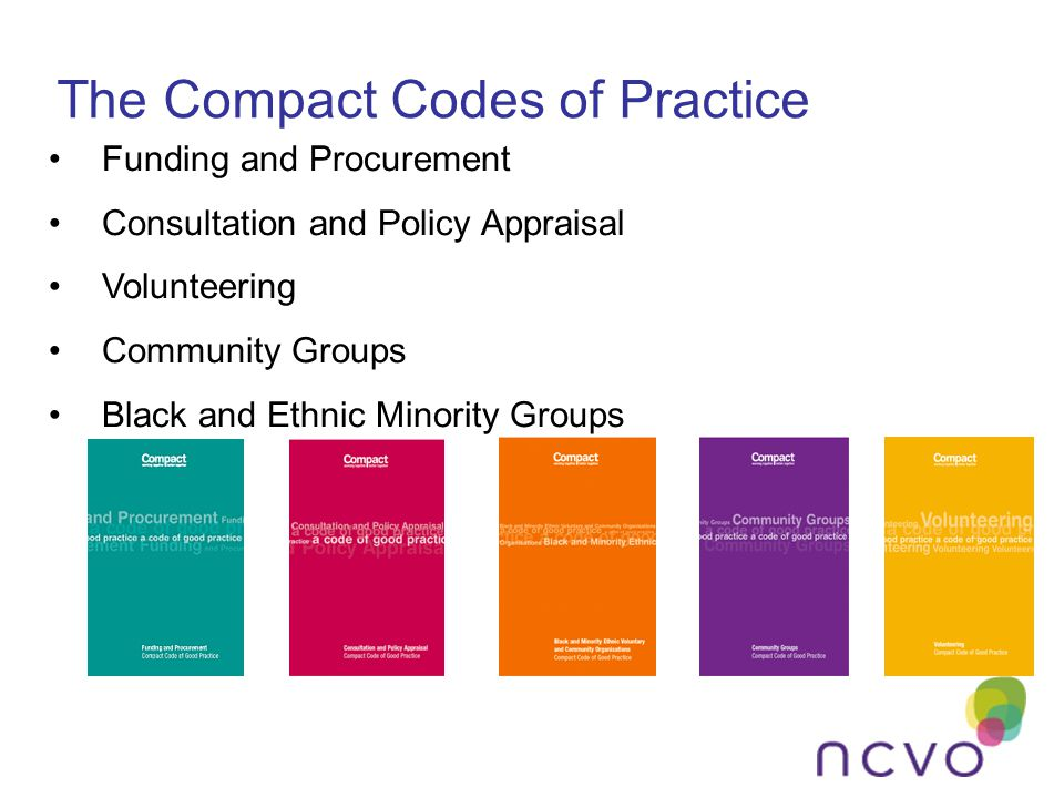 The Compact Codes of Practice Funding and Procurement Consultation and Policy Appraisal Volunteering Community Groups Black and Ethnic Minority Groups