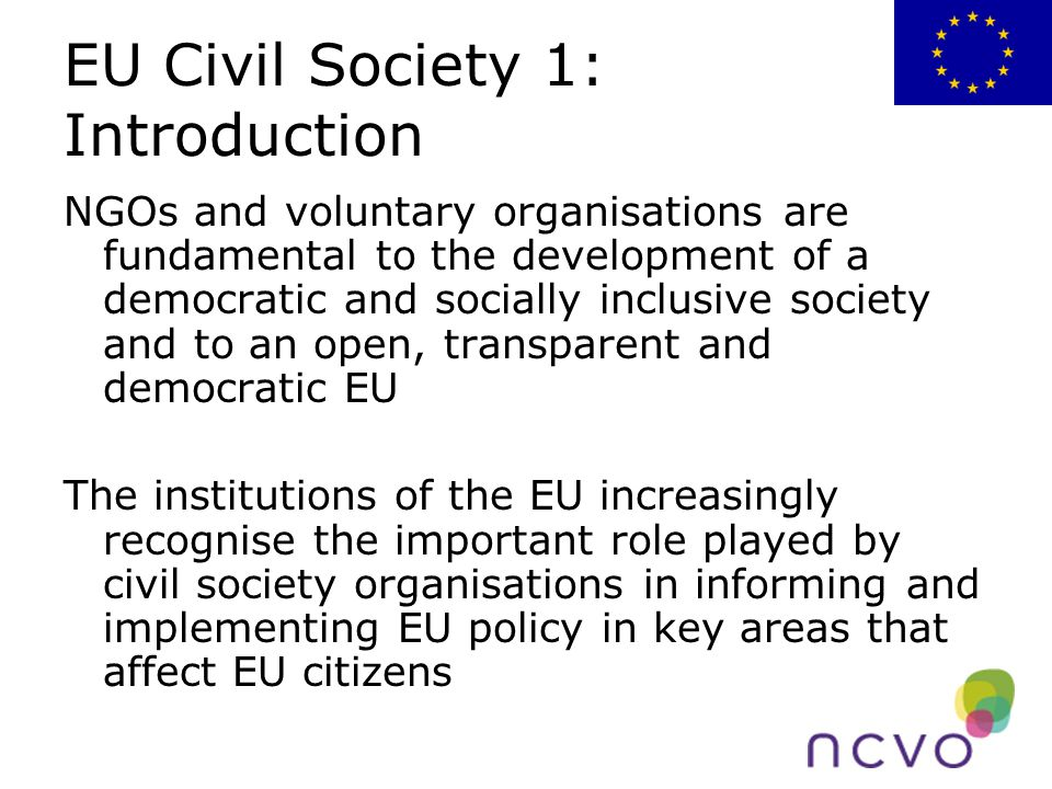 EU Civil Society 1: Introduction NGOs and voluntary organisations are fundamental to the development of a democratic and socially inclusive society and to an open, transparent and democratic EU The institutions of the EU increasingly recognise the important role played by civil society organisations in informing and implementing EU policy in key areas that affect EU citizens