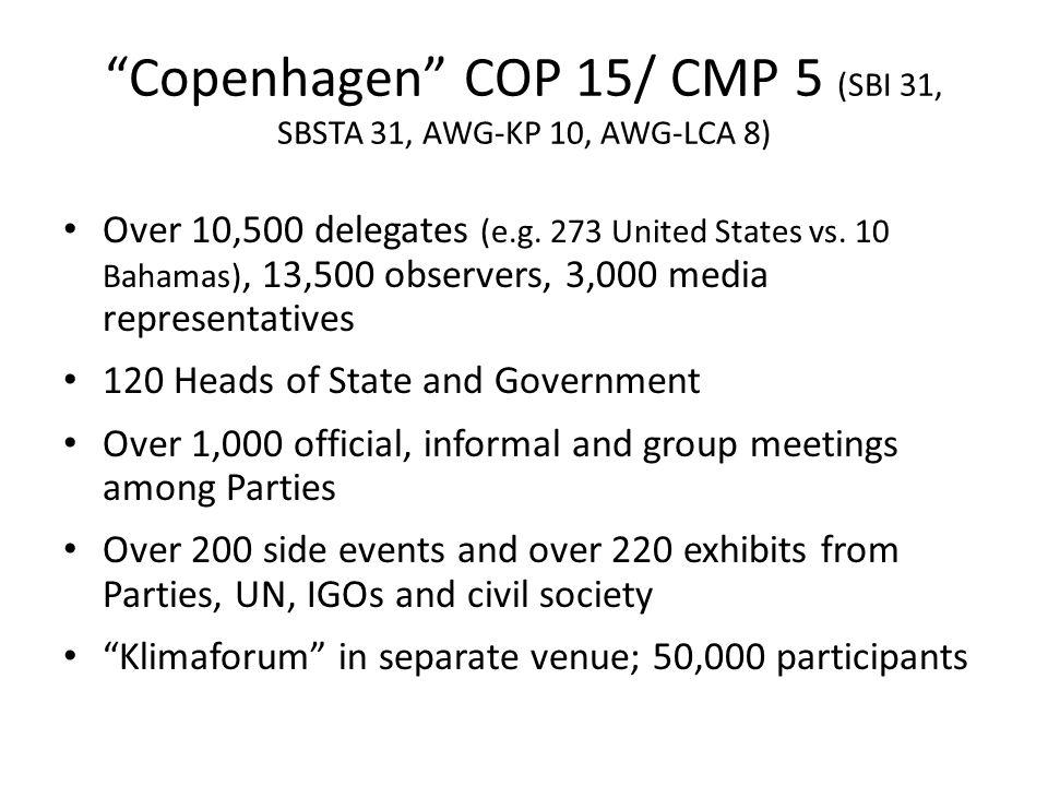"""""""Copenhagen"""" COP 15/ CMP 5 (SBI 31, SBSTA 31, AWG-KP 10, AWG-LCA 8) Over 10,500 delegates (e.g. 273 United States vs. 10 Bahamas), 13,500 observers, 3"""