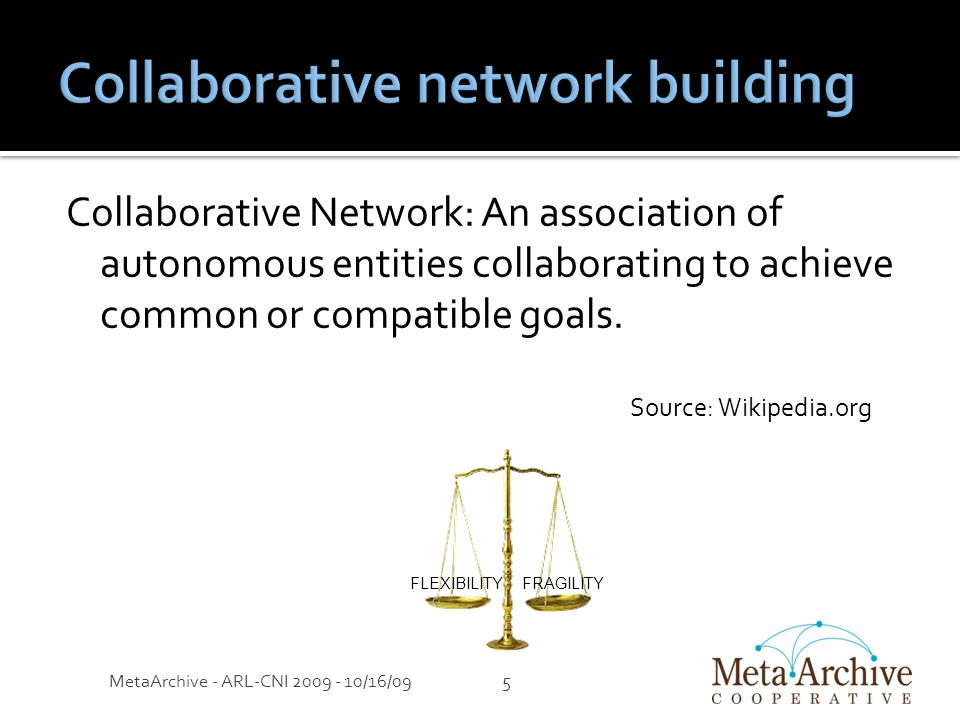 Collaborative Network: An association of autonomous entities collaborating to achieve common or compatible goals.
