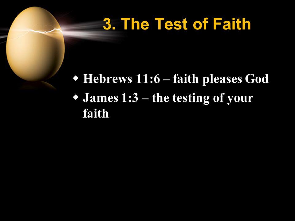 3. The Test of Faith  Hebrews 11:6 – faith pleases God  James 1:3 – the testing of your faith