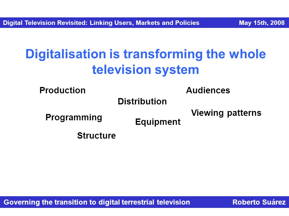 Digital Television Revisited: Linking Users, Markets and Policies May 15th, 2008 Governing the transition to digital terrestrial television Roberto Suárez Digitalisation is transforming the whole television system Production Distribution Programming Equipment Viewing patterns Audiences Structure