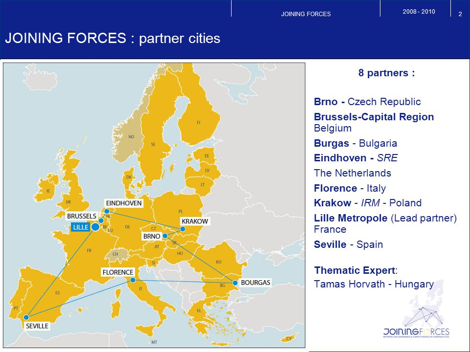 JOINING FORCES 2008 - 2010 2 JOINING FORCES : partner cities 8 partners : Brno - Czech Republic Brussels-Capital Region Belgium Burgas - Bulgaria Eind