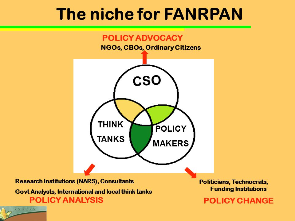 CSO THINK TANKS POLICY MAKERS Research Institutions (NARS), Consultants Govt Analysts, International and local think tanks Politicians, Technocrats, Funding Institutions NGOs, CBOs, Ordinary Citizens POLICY CHANGE POLICY ANALYSIS POLICY ADVOCACY The niche for FANRPAN