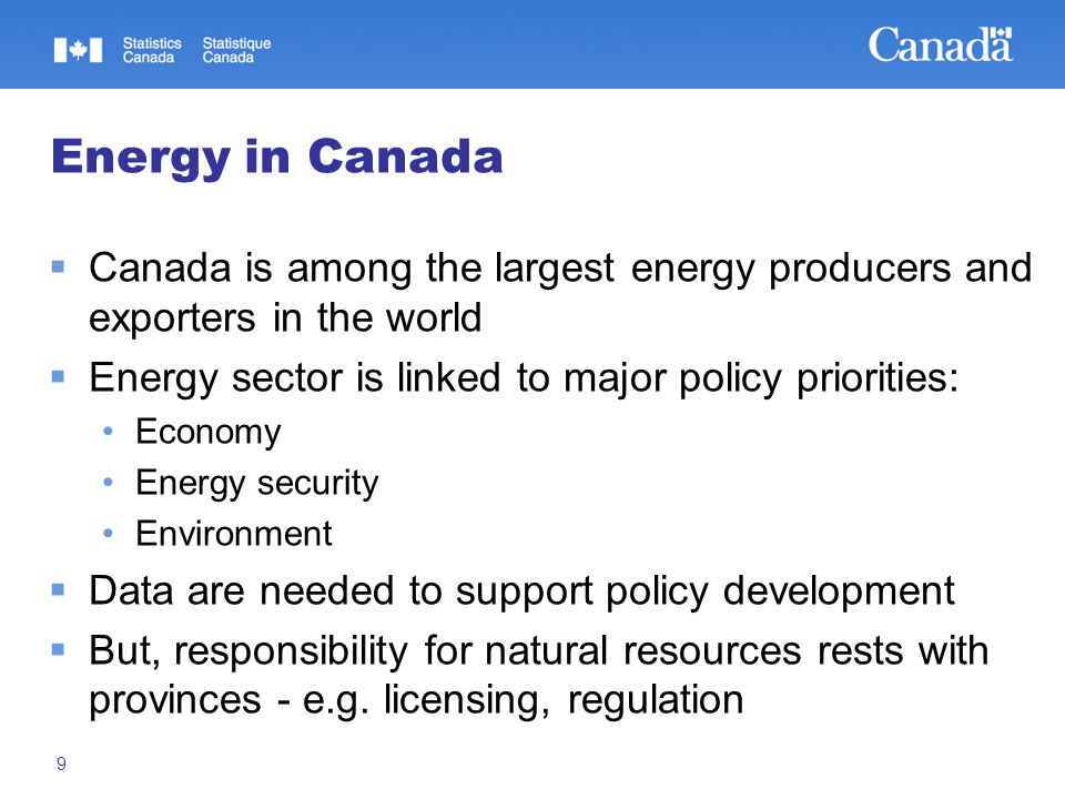 9 Energy in Canada  Canada is among the largest energy producers and exporters in the world  Energy sector is linked to major policy priorities: Eco