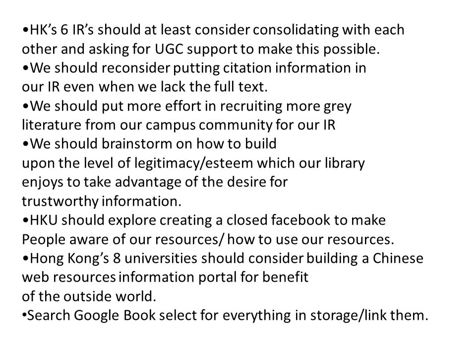 HK's 6 IR's should at least consider consolidating with each other and asking for UGC support to make this possible.