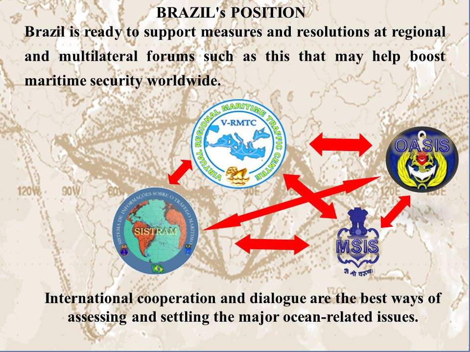 BRAZIL s POSITION Brazil is ready to support measures and resolutions at regional and multilateral forums such as this that may help boost maritime security worldwide.