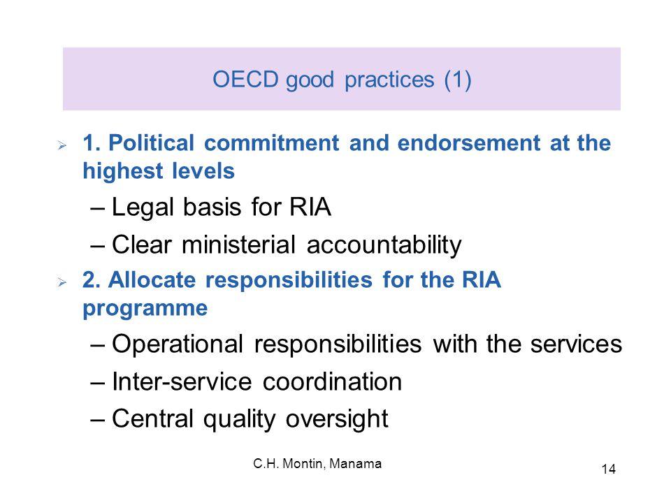 C.H. Montin, Manama 14 OECD good practices (1)  1.