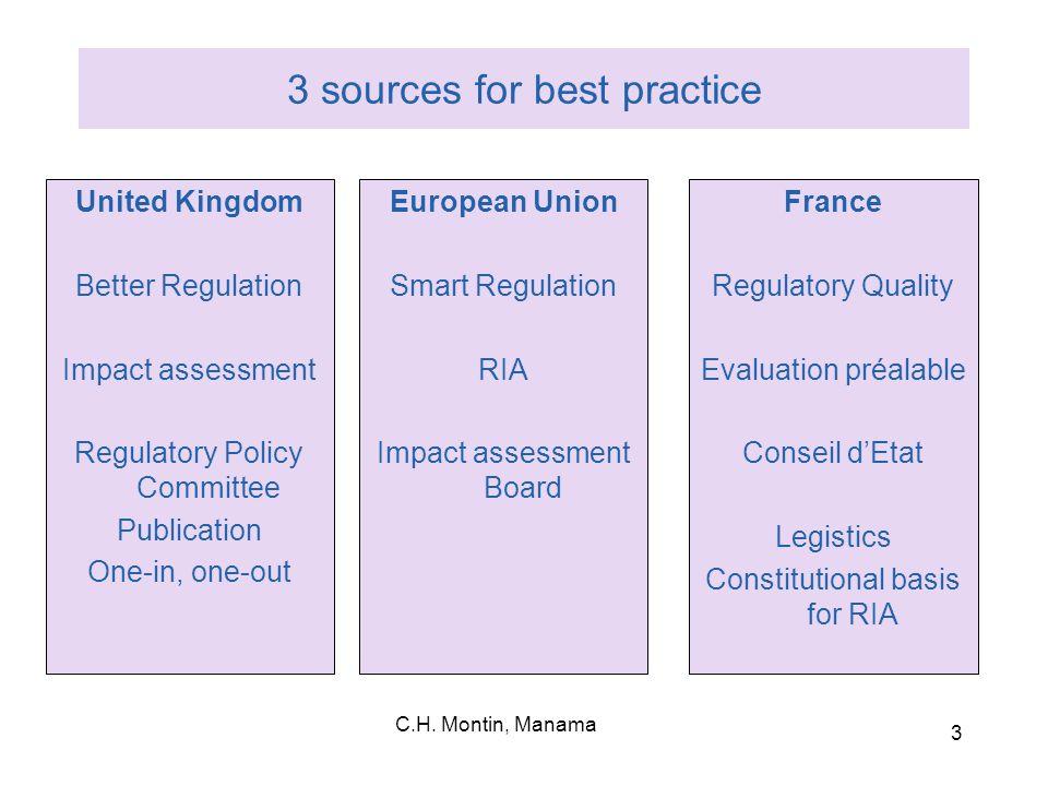 C.H.Montin, Manama 14 OECD good practices (1)  1.