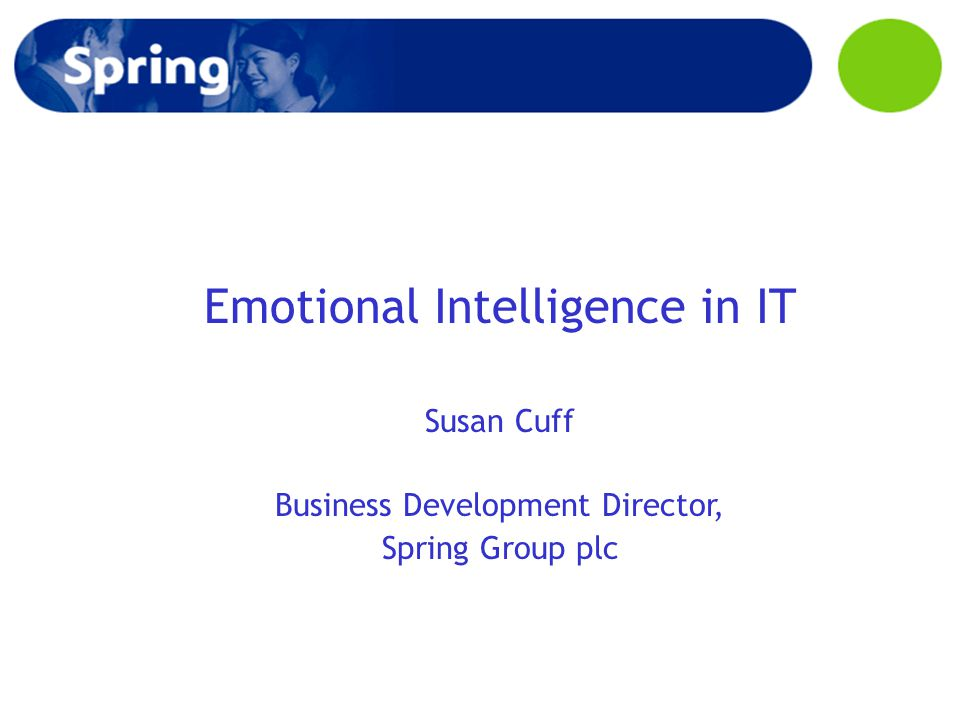 Emotional Intelligence in IT Susan Cuff Business Development Director, Spring Group plc