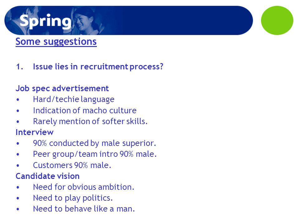 Some suggestions 1.Issue lies in recruitment process.