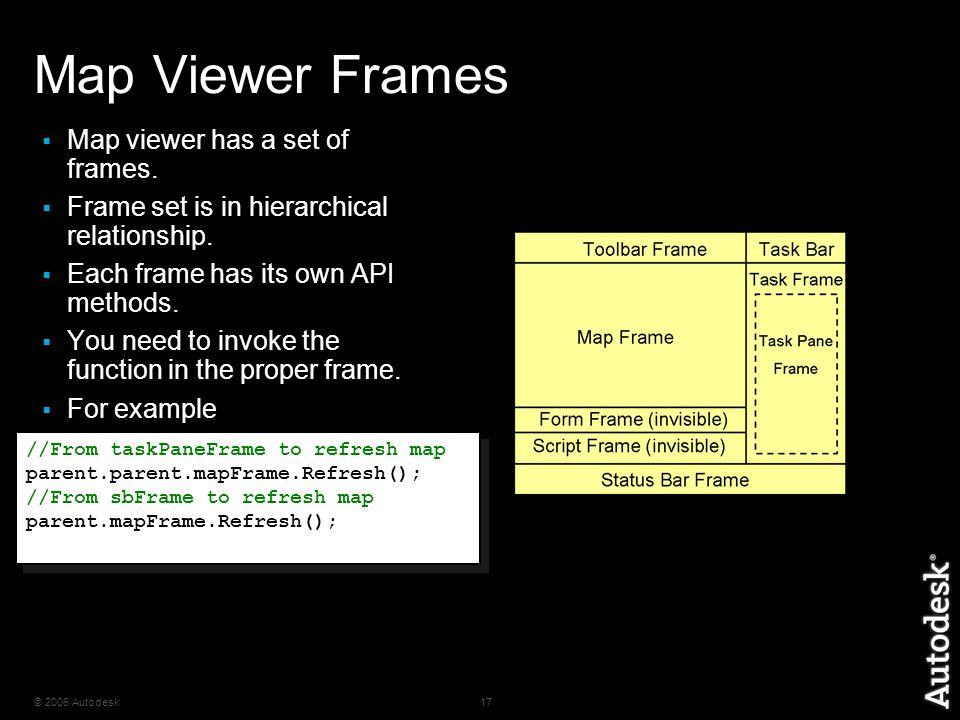 © 2006 Autodesk17 Map Viewer Frames  Map viewer has a set of frames.