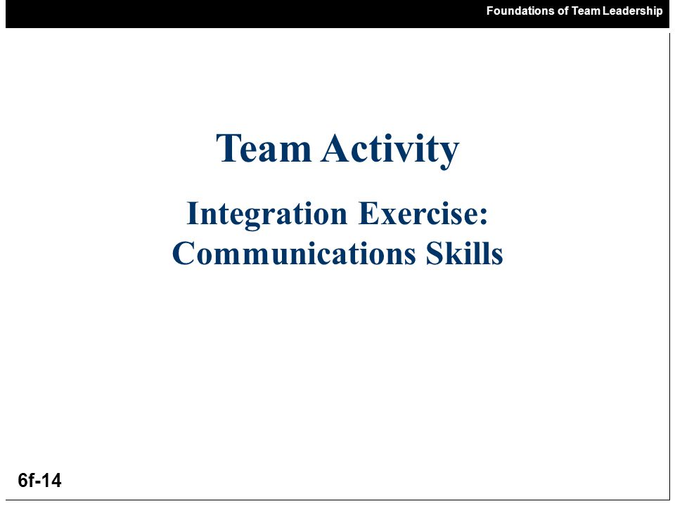 Foundations of Team Leadership 6f-14 Team Activity Integration Exercise: Communications Skills