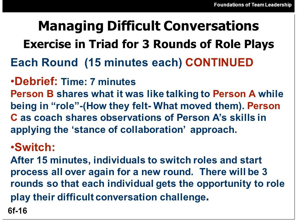 Foundations of Team Leadership 6f-16 Managing Difficult Conversations Exercise in Triad for 3 Rounds of Role Plays Each Round (15 minutes each) CONTINUED Debrief: Time: 7 minutes Person B shares what it was like talking to Person A while being in role -(How they felt- What moved them).