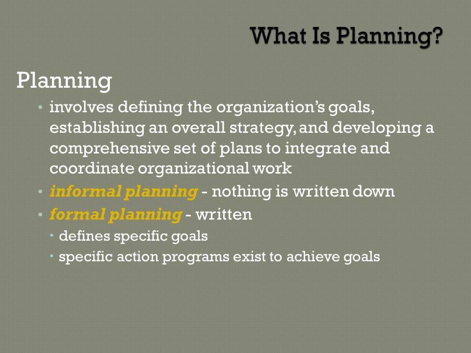 2 Planning is the function that answers four basic questions: Where are we now.