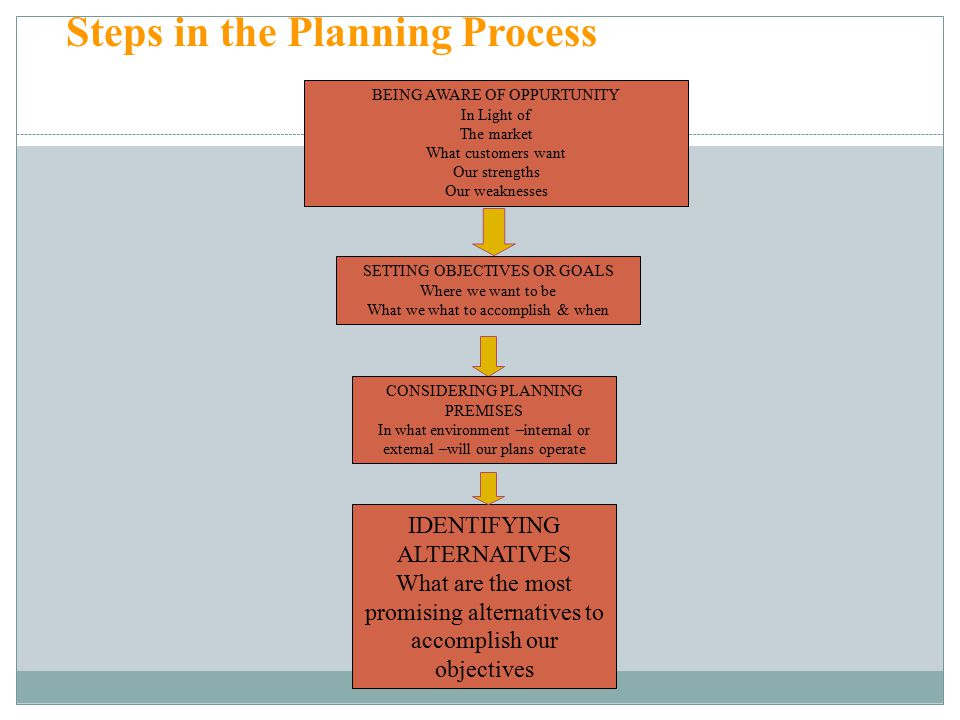 29 Steps in the Planning Process BEING AWARE OF OPPURTUNITY In Light of The market What customers want Our strengths Our weaknesses SETTING OBJECTIVES