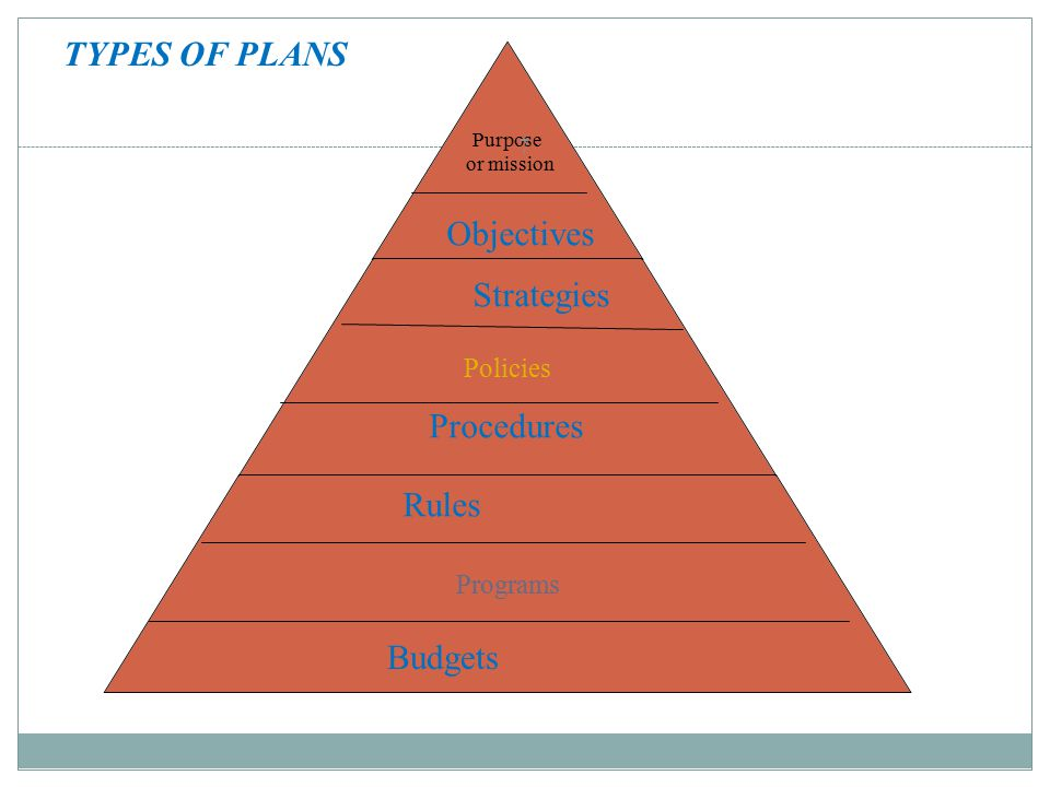 Purpose or mission Policies Programs 7 Budgets Rules Procedures Strategies Objectives TYPES OF PLANS