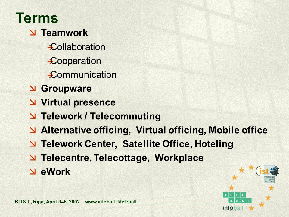  Teamwork  Collaboration  Cooperation  Communication  Groupware  Virtual presence  Telework / Telecommuting  Alternative officing, Virtual officing, Mobile office  Telework Center, Satellite Office, Hoteling  Telecentre, Telecottage, Workplace  eWork Terms BIT&T, Riga, April 3–5, 2002 www.infobalt.lt/telebalt