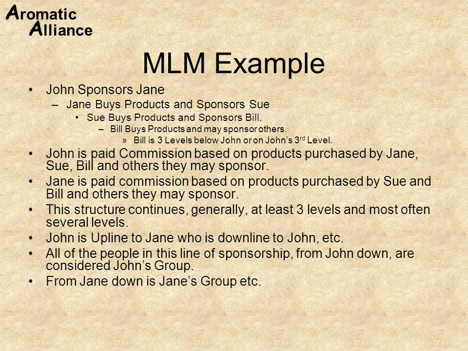 A romatic A lliance MLM Example John Sponsors Jane –Jane Buys Products and Sponsors Sue Sue Buys Products and Sponsors Bill.