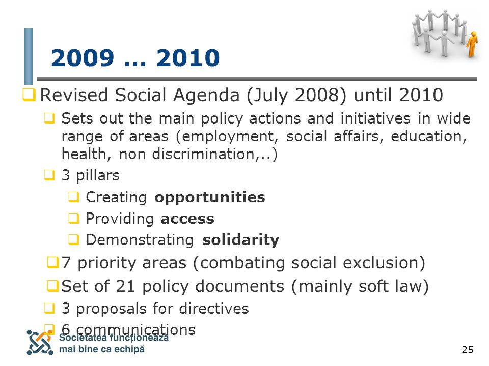 25 2009 … 2010  Revised Social Agenda (July 2008) until 2010  Sets out the main policy actions and initiatives in wide range of areas (employment, social affairs, education, health, non discrimination,..)  3 pillars  Creating opportunities  Providing access  Demonstrating solidarity  7 priority areas (combating social exclusion)  Set of 21 policy documents (mainly soft law)  3 proposals for directives  6 communications