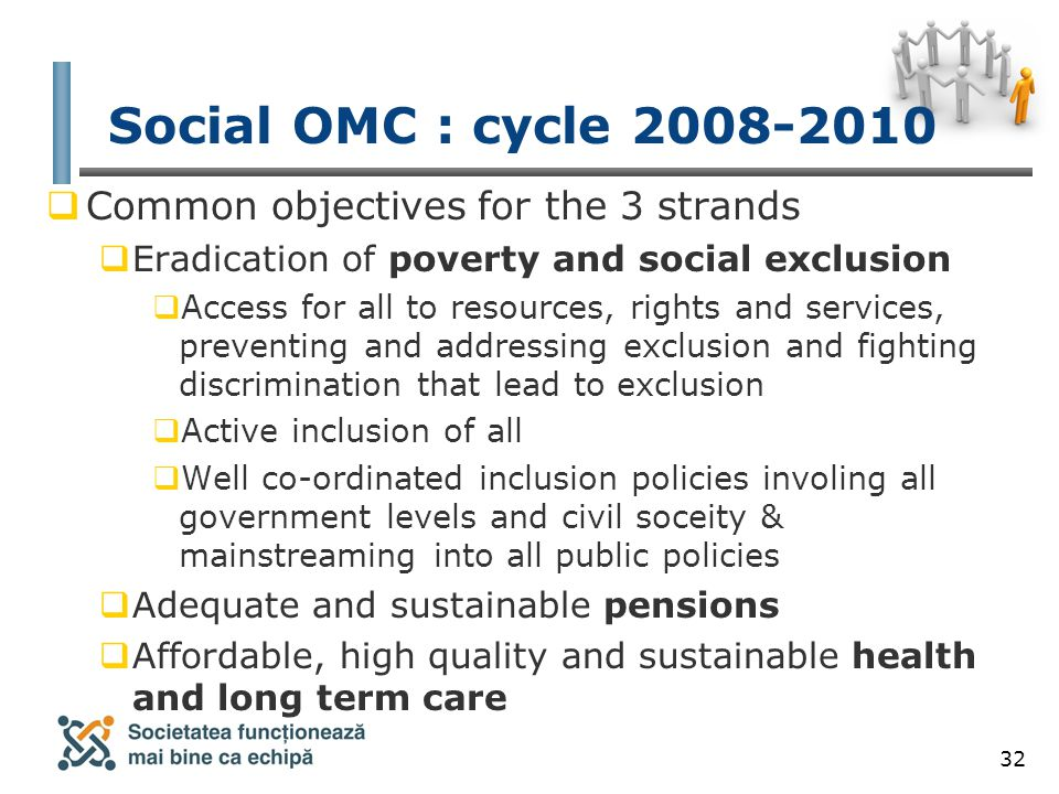 32 Social OMC : cycle 2008-2010  Common objectives for the 3 strands  Eradication of poverty and social exclusion  Access for all to resources, rights and services, preventing and addressing exclusion and fighting discrimination that lead to exclusion  Active inclusion of all  Well co-ordinated inclusion policies involing all government levels and civil soceity & mainstreaming into all public policies  Adequate and sustainable pensions  Affordable, high quality and sustainable health and long term care