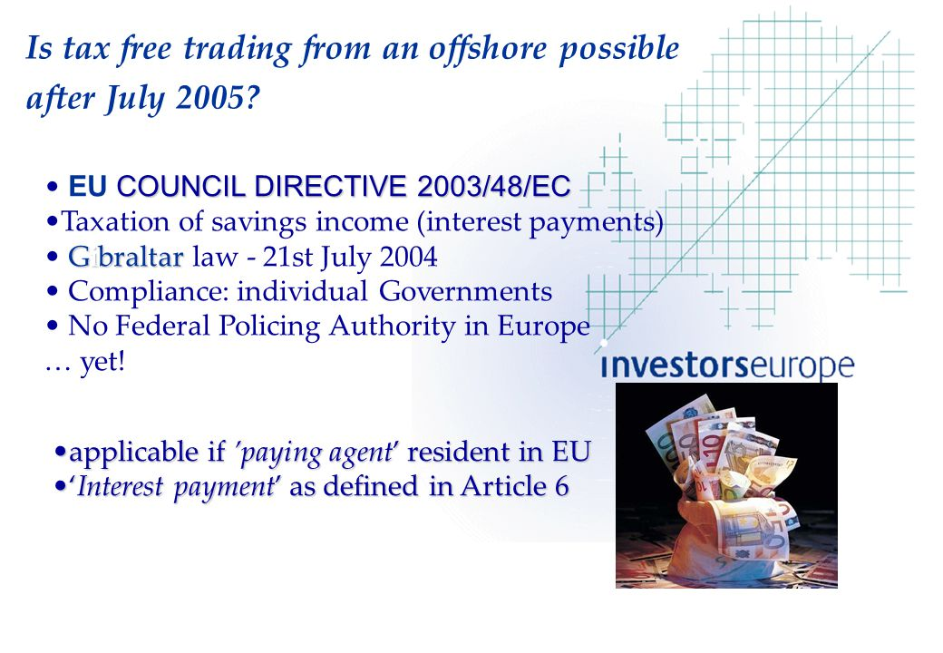 COUNCIL DIRECTIVE 2003/48/EC EU COUNCIL DIRECTIVE 2003/48/EC Taxation of savings income (interest payments) Gibraltar Gibraltar law - 21st July 2004 Compliance: individual Governments No Federal Policing Authority in Europe … yet.