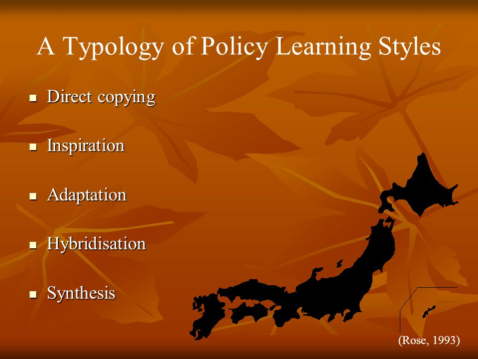 A Typology of Policy Learning Styles Direct copying Direct copying Inspiration Inspiration Adaptation Adaptation Hybridisation Hybridisation Synthesis Synthesis (Rose, 1993)