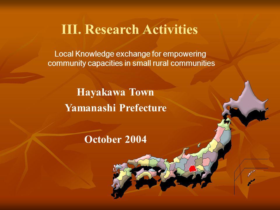 Local Knowledge exchange for empowering community capacities in small rural communities III. Research Activities Hayakawa Town Yamanashi Prefecture Oc
