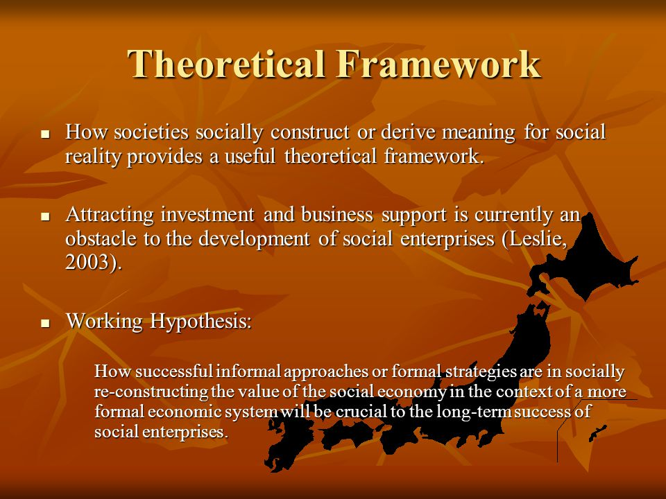 Theoretical Framework How societies socially construct or derive meaning for social reality provides a useful theoretical framework.