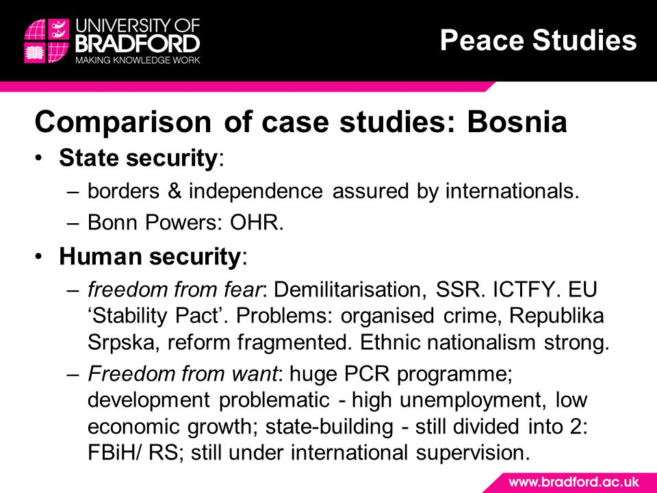 Peace Studies Comparison of case studies: Bosnia State security: –borders & independence assured by internationals.