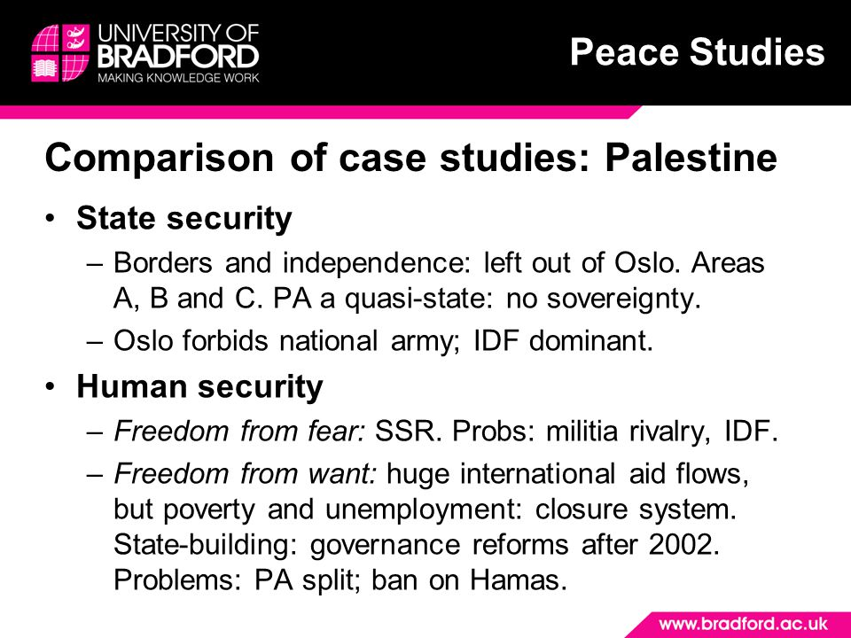 Peace Studies Comparison of case studies: Palestine State security –Borders and independence: left out of Oslo.