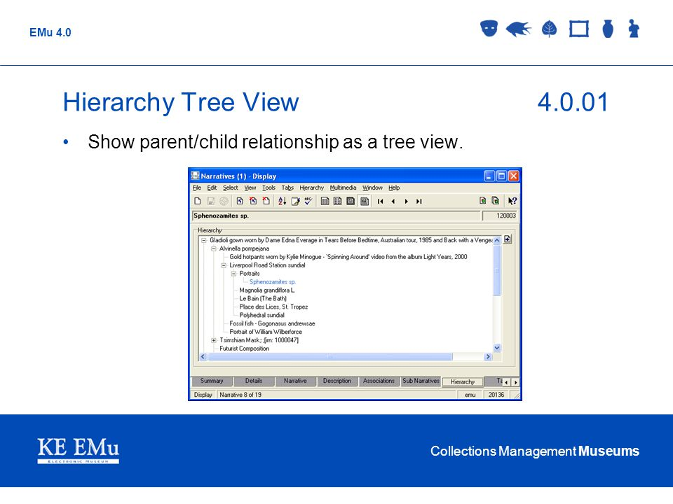 Collections Management Museums EMu 4.0 Hierarchy Tree View4.0.01 Show parent/child relationship as a tree view.